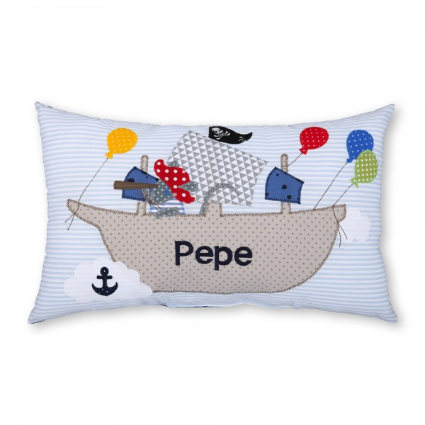crepes suzette Kissen mit Name Pepe hellblau Piratenschiff