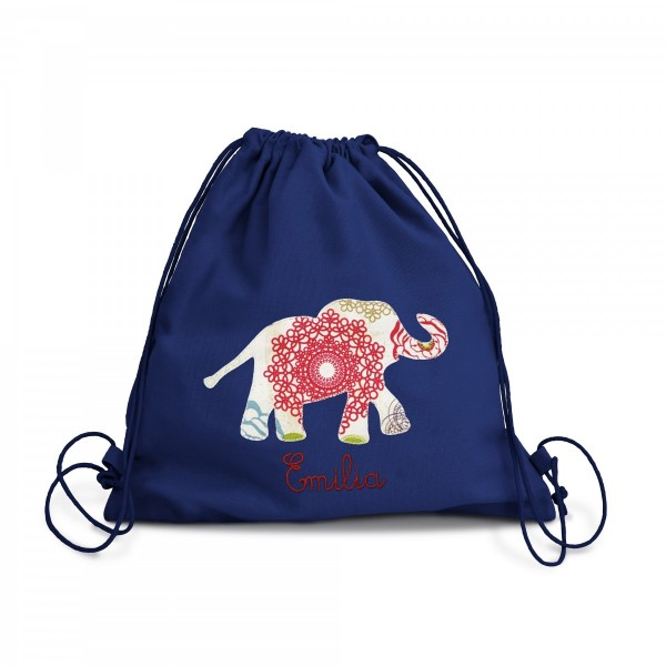 Fraise Turnbeutel Elefant indisch mit Namen