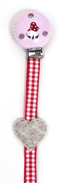 Herzenswunsch - Schnullerkette Pilz rot