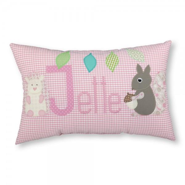 crepes suzette Kissen mit Name Jette Eichhörnchen rosa