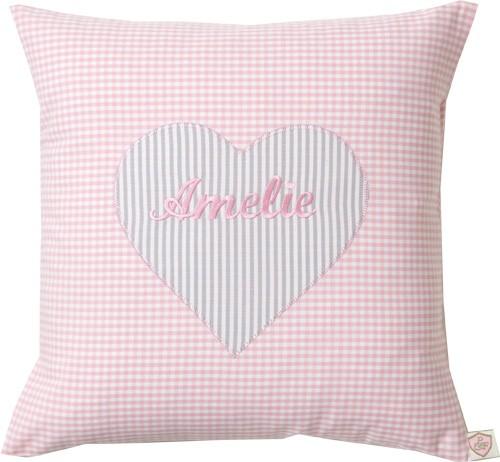 Paula & Ferdinand Namenskissen Herz rosa/grau