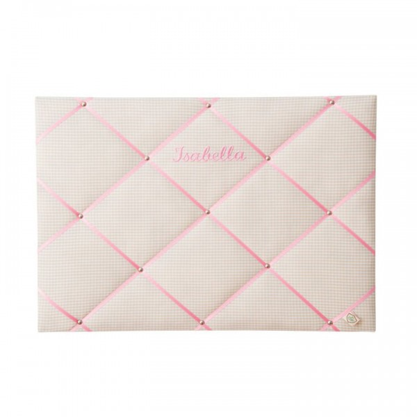 Memoboard Karo beige - pink personalisiert