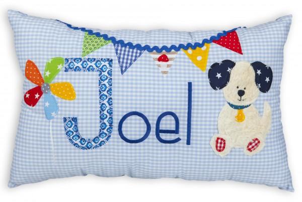 crepes suzette Kissen mit Name Joel hellblau Hund