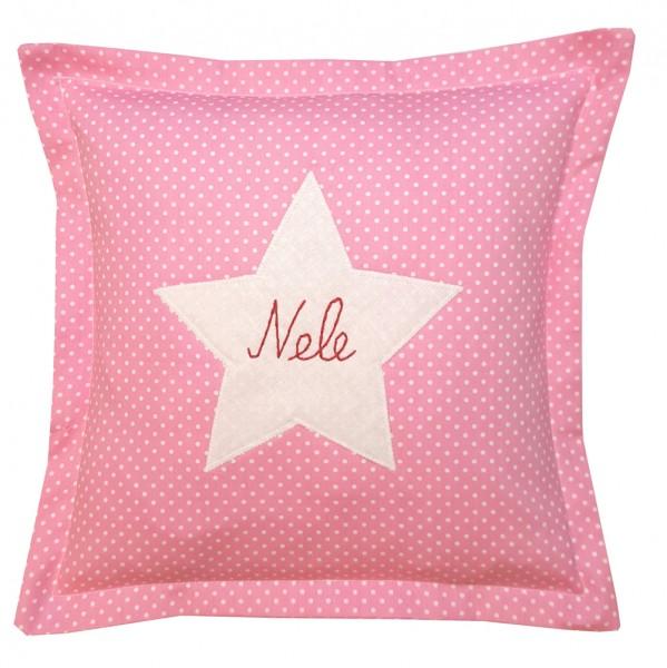 personalisiertes Kissen Stern 30x30 Punkte rosa