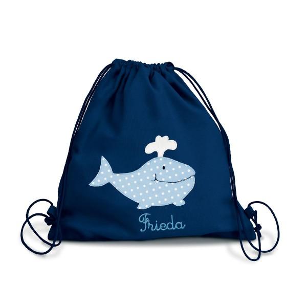 Fraise Turnbeutel Wal blau mit Namen