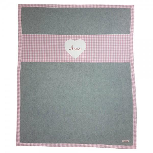 personalisierte Babyfleecedecke grau Herz rosa