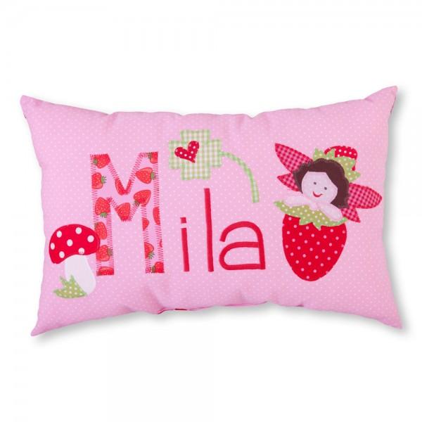 crepes suzette Kissen mit Name Mila Erdbeere