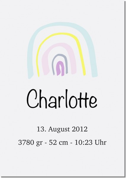 A3 Poster Geburt Regenbogen pastel