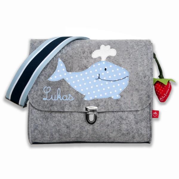 Filztasche Wal mit Namen