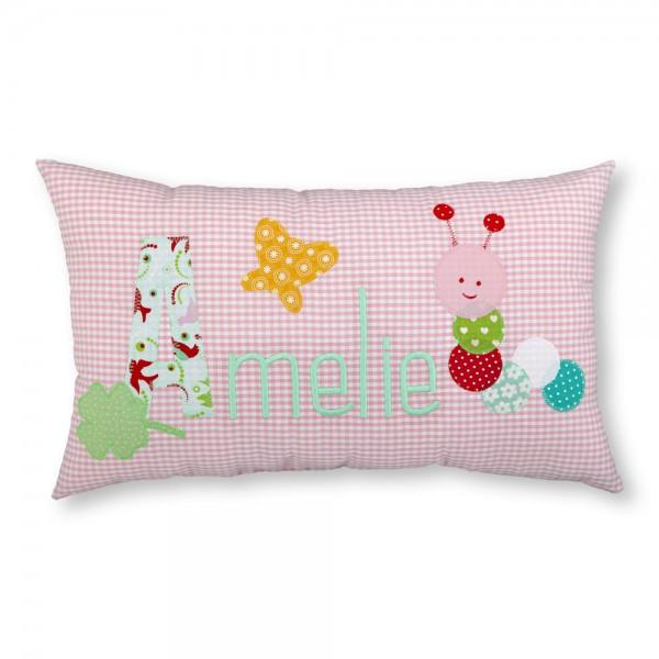 crepes suzette Kissen mit Namen Amelie rosa Raupe
