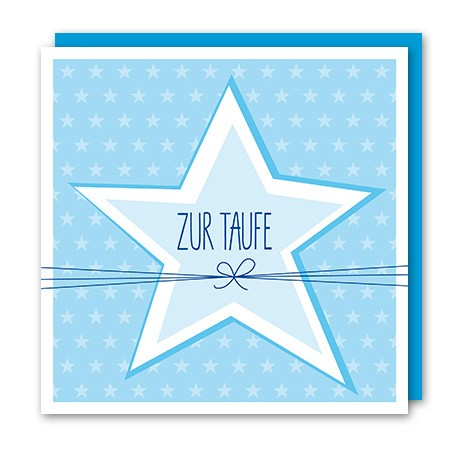 Amazing - Klappkarte Zur Taufe hellblau