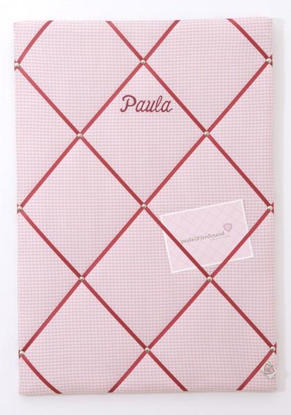 Paula & Ferdinand - Memoboard Vichykaro rosa/dunkelrot