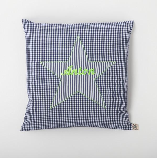 Kissen Stern blau - neon grün personalisiert
