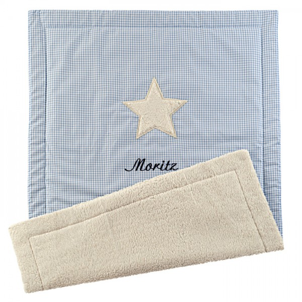lakaro - Krabbeldecke Kuschel Stern hellblau mit Namen