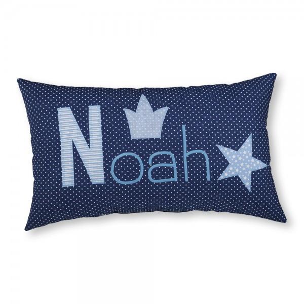 crepes suzette Kissen mit Name Noah dunkelblau Sterne