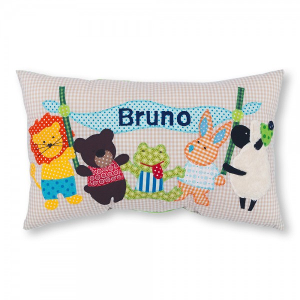 crepes suzette Kissen mit Name Bruno beige Tiere
