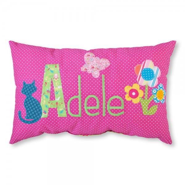 crepes suzette Kissen mit Name Adele pink Katze