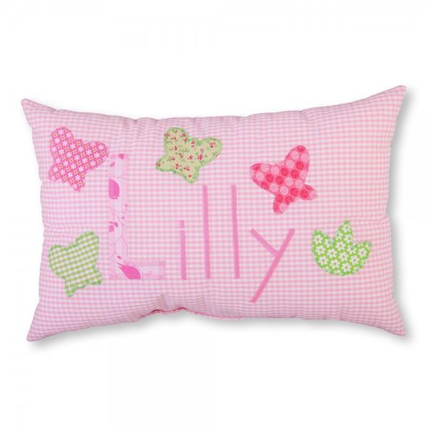 crepes suzette Kissen mit Name Lilly rosa Schmetterlinge