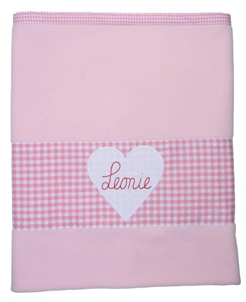 personalisierte Babyfleecedecke rosa