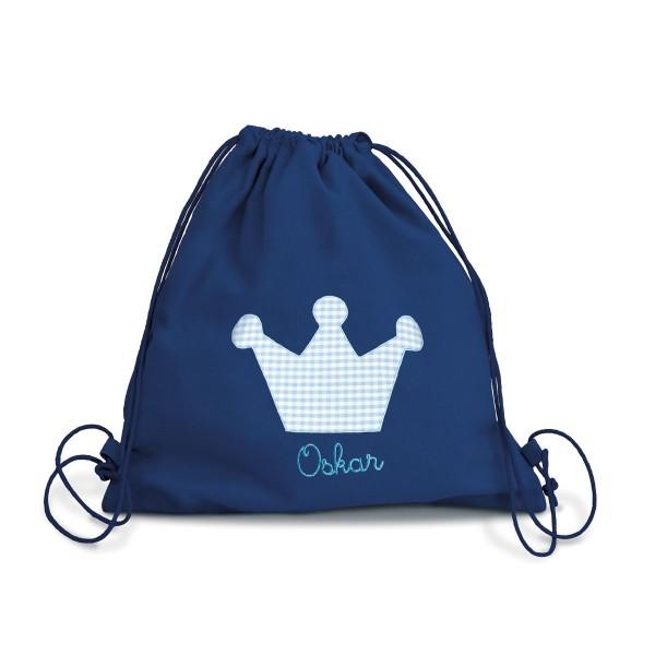 Fraise Turnbeutel Krone blau mit Namen