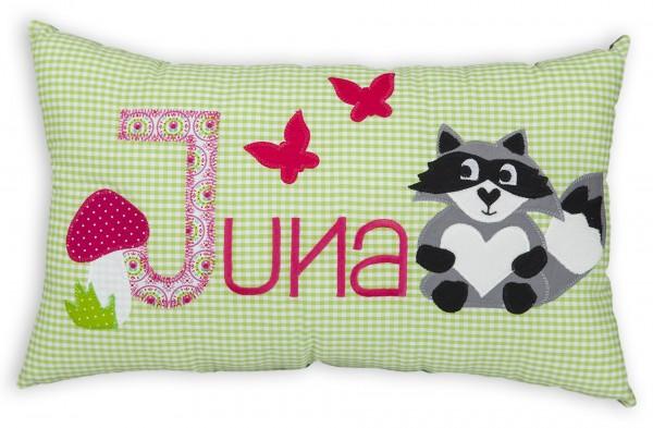 crepes suzette Kissen mit Namen Juna grün Waschbär