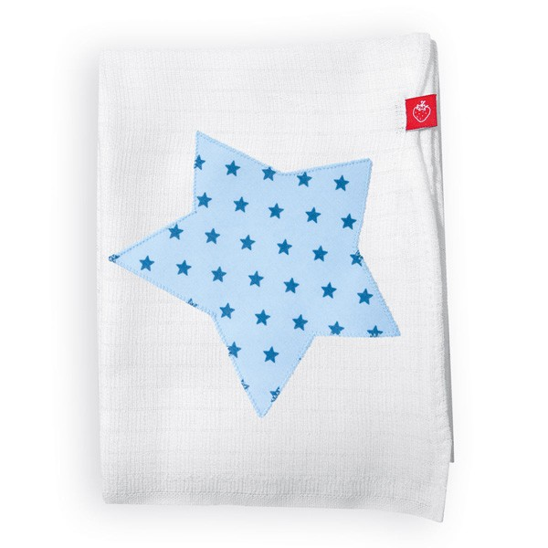 La Fraise Rouge - Schmusetuch Stern hellblau/mittelblau