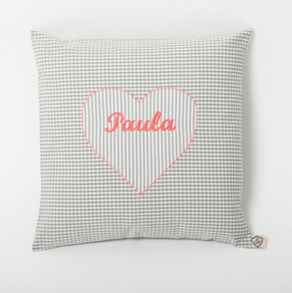 Kissen Herz grau - neon pink personalisiert