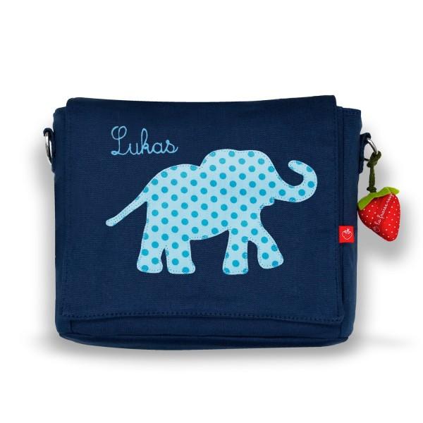 Kindergartentasche Elefant blau mit Namen