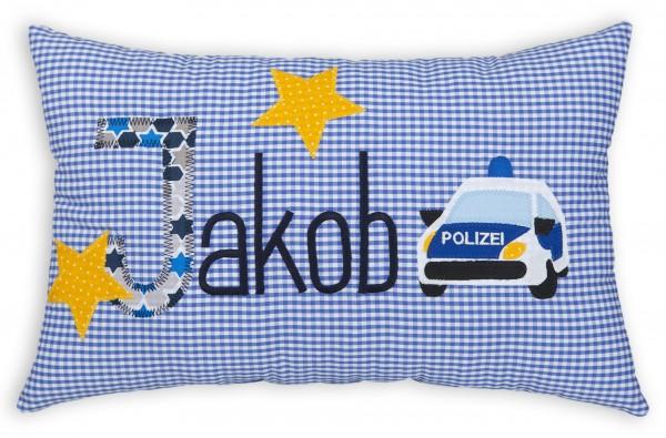 crepes suzette Kissen mit Namen Jakob blau Polizeiauto