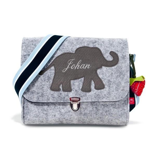 Filztasche Elefant grau mit Namen