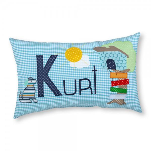crepes suzette Kissen mit Name Kurt türkis Baumhaus