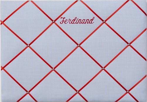 Memoboard Karo hellblau/rot personalisiert