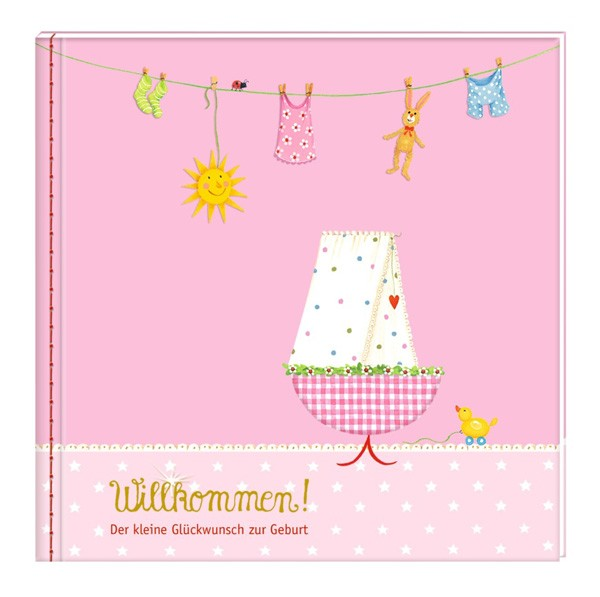 Willkommen - Kleine Glückwünsche zur Geburt und Taufe rosa