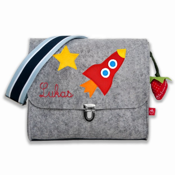 Kindergartentasche aus Filz mit Namen Rakete