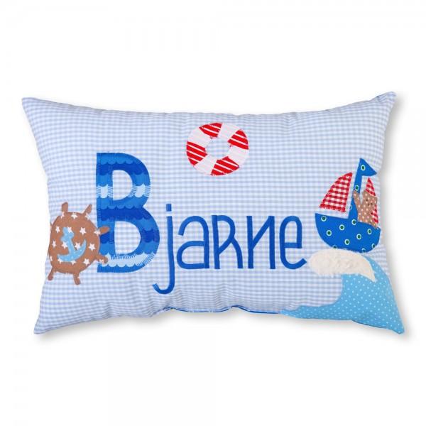 crepes suzette Kissen mit Name Bjarne hellblau Boot