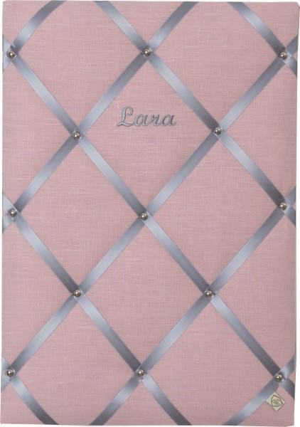 Memoboard Leinen altrosa - grau personalisiert