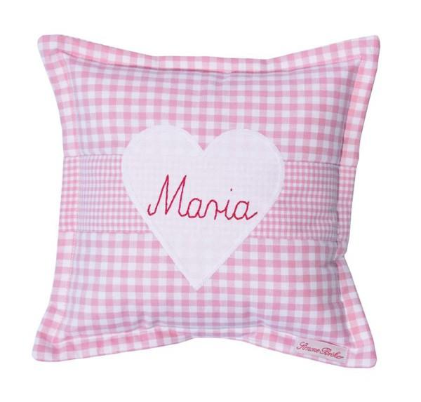 personalisiertes Kissen Herz 25x25 rosa