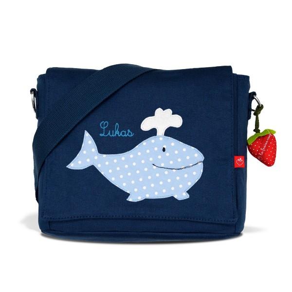 Kindergartentasche Wal hellblau mit Namen