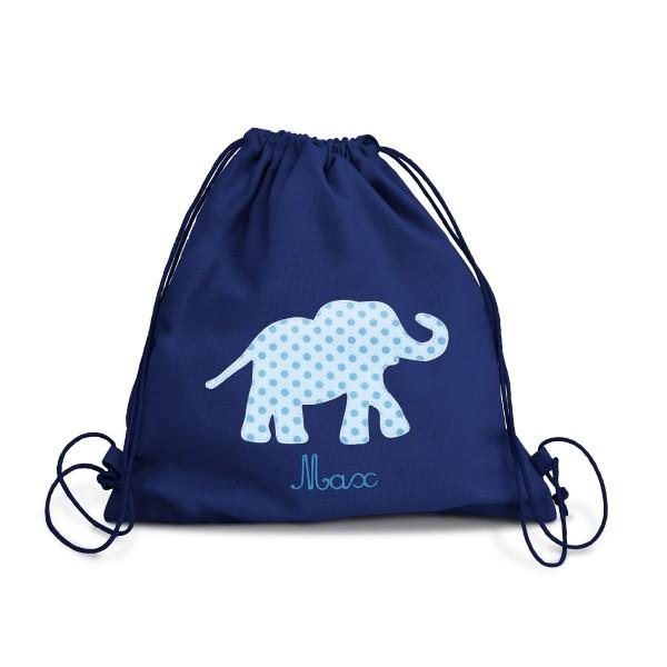 Fraise Turnbeutel Elefant blau mit Namen