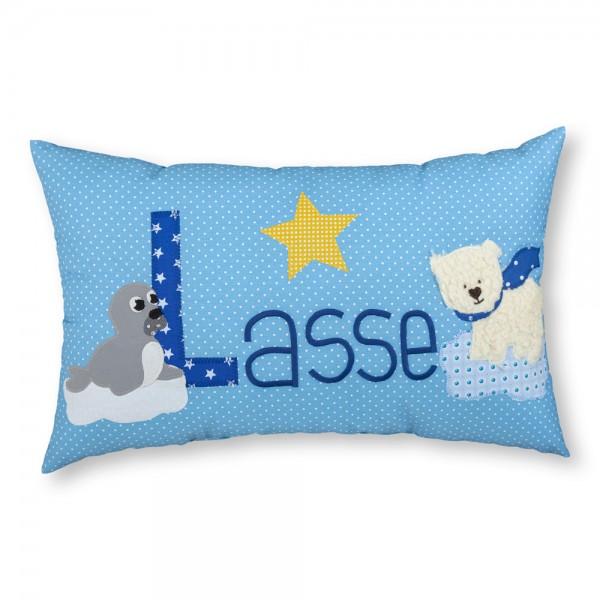 crepes suzette Kissen mit Name Lasse blau Eisbär