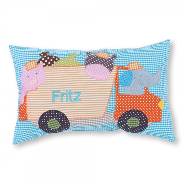 crepes suzette Kissen mit Name Fritz türkis Müllauto