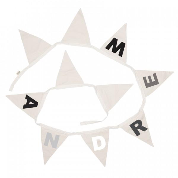 Wimpelgirlande Buchstaben schwarz, grau, weiss