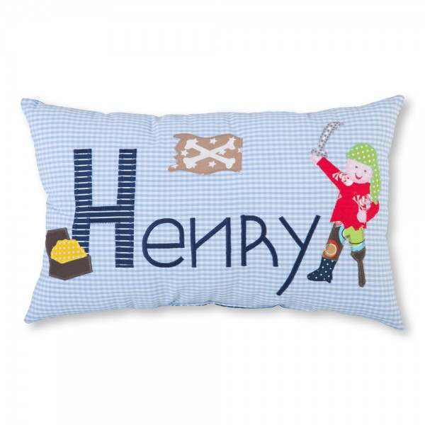 crepes suzette Kissen mit Name Henry hellblau Pirat