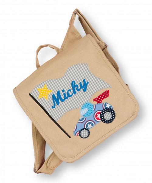 Kindergartentasche beige Micky Rennauto