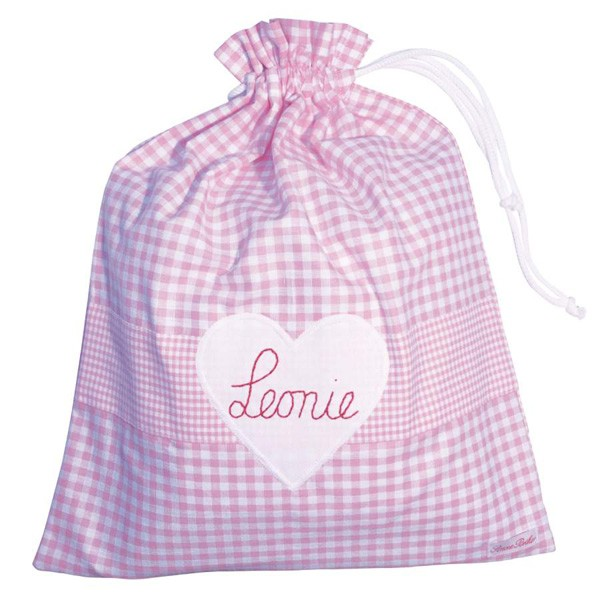Turnbeutel mit Herz Namen rosa + hellblau