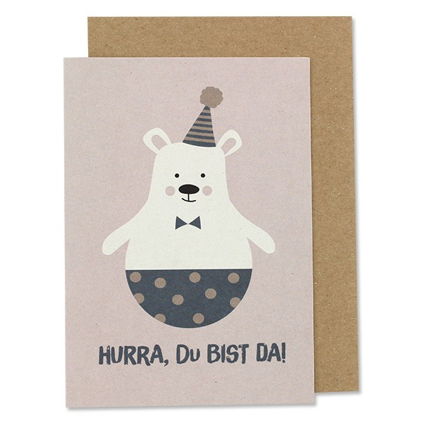 """Ava & Yves - Klappkarte Eisbär """"Hurra, Du bist da"""""""