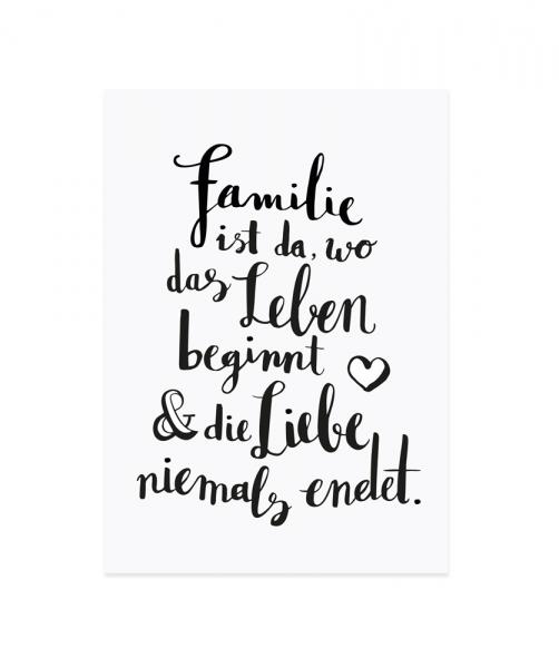 Eulenschnitt - Postkarte Familie