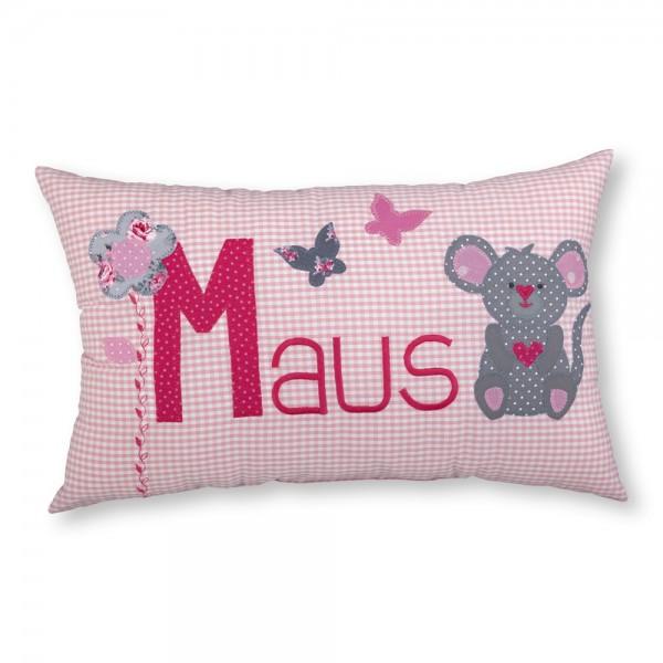 crepes suzette Kissen mit Name Maus rosa