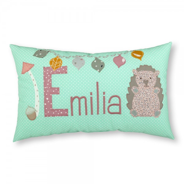 crepes suzette Kissen mit Name Emilia Igel mint