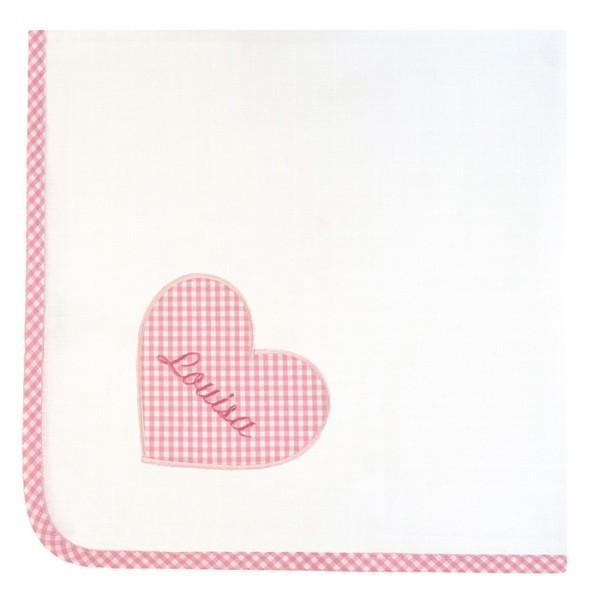 lakaro - Spucktuch mit Namen Herz rosa